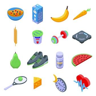Набор иконок здорового образа жизни. изометрические набор иконок здорового образа жизни для интернета, изолированные на белом фоне