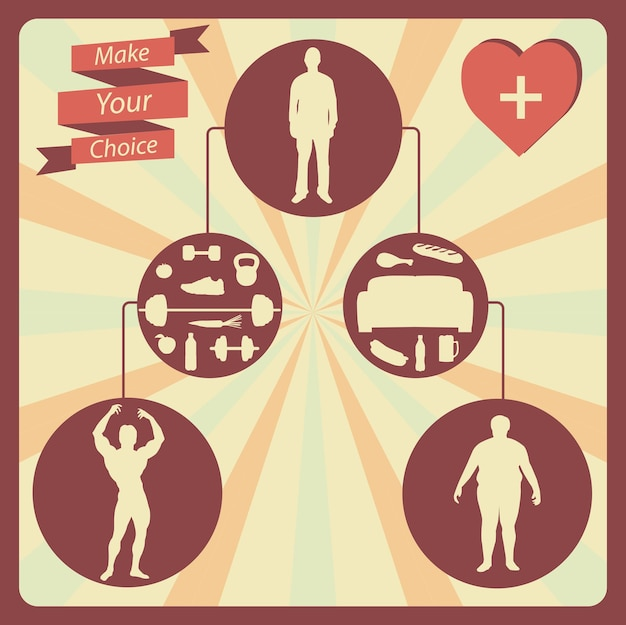 Healthy lifestyle infographic postcard on the brown background