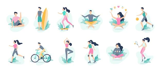 健康的なライフスタイルのインフォグラフィック。スポーツとフィットネス、健康