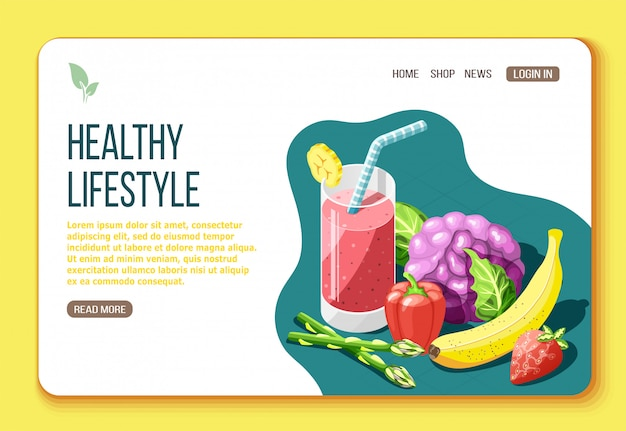 Healthy lifestyle isometric landing page with text and visual information about foods that are useful for body illustration