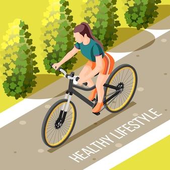 屋外サイクリングの健康的なライフスタイルの等尺性ベクトル図