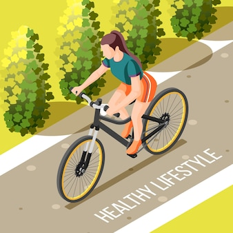 Healthy lifestyle isometric vector illustration of outdoor cycling