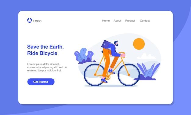 健康的なライフスタイルのランディングページテンプレートビジネスマンは自転車のランディングページに乗る