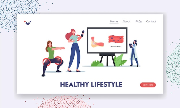 健康的なライフスタイルのランディングページテンプレート。巨大なインフォグラフィックで骨格筋を提示する小さな医者のキャラクター。ダンベルとしゃがむ女性のトレーニング。漫画の人々のベクトル図