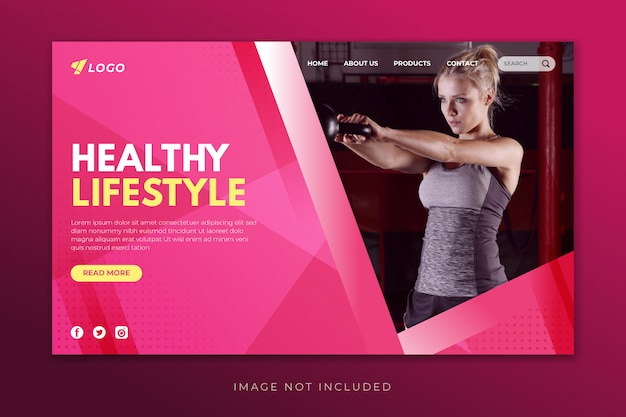 Healthy lifestyle landing page template