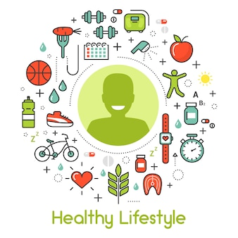 Healthy lifestyle line art
