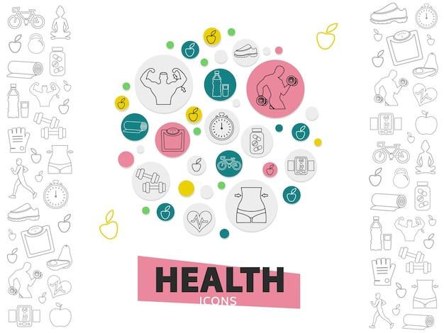 Коллекция иконок линии здорового образа жизни с сильным мужчиной, кроссовками, яблоком, авокадо, фитнес-оборудованием
