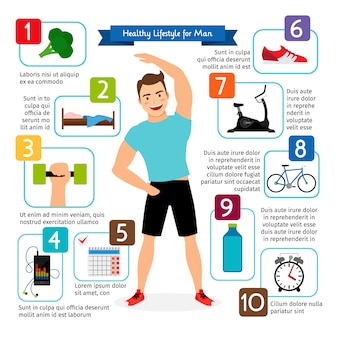 Healthy lifestyle for man vector infographics