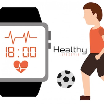 Healthy lifestyle man with soccer ball and smart watch app