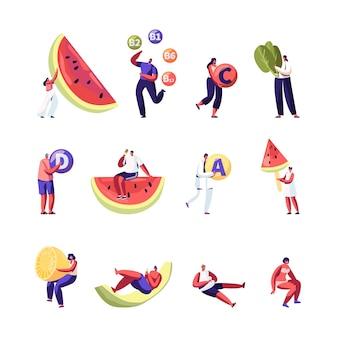 건강 한 라이프 스타일, 유기농 식품 선택 세트 흰색 배경에 고립. 만화 평면 그림