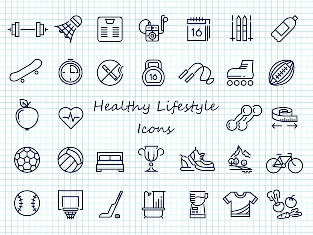 Healthy lifestyle outline icons - big set sport icons