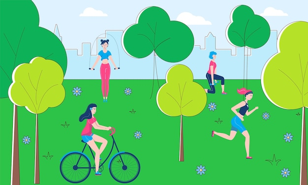 健康的なライフスタイルの人々のキャラクターは、屋外の身体活動、公共公園のフィットネスフラットベクトルイラストを一緒にスポーツします。ストリートワークアウトのエクササイズ、自転車に乗る、体調が良い。