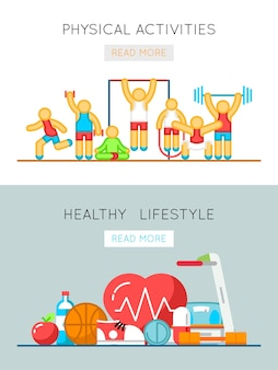 Healthy lifestyle and physical activity flat line banners. training activity and physical health illustration
