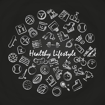 Healthy lifestyle round concept on blackboard