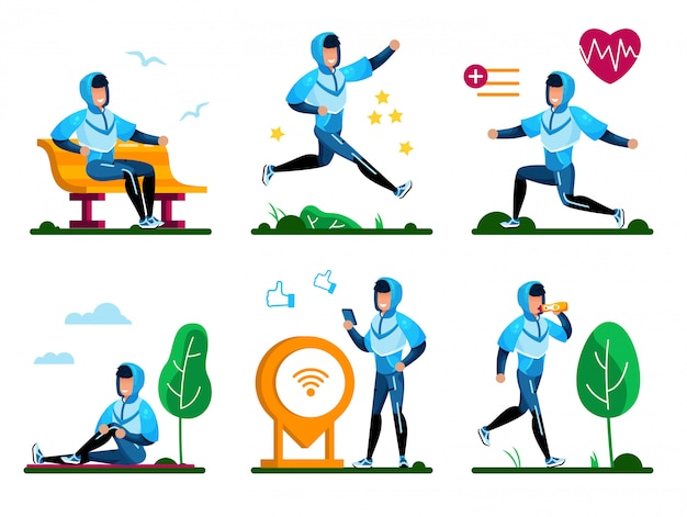 Healthy lifestyle routines flat vector concept set