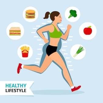 Healthy lifestyle running woman vector illustration.