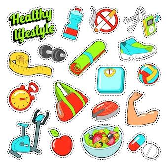 健康的なライフスタイルは、ステッカーと食べ物やスポーツの要素で設定します。ベクトル落書き