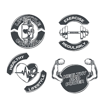 Healthy lifestyle set with four isolated emblems with images of physical exercises heart and editable text