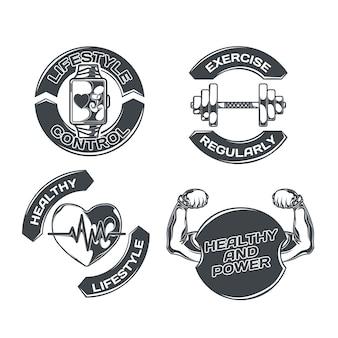 Stile di vita sano impostato con quattro emblemi isolati con immagini di esercizi fisici cuore e testo modificabile