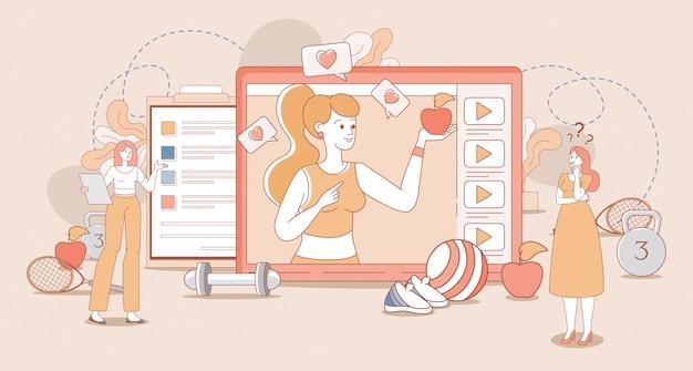 건강 한 라이프 스타일, 스포츠 블로그, 블로그 채널 만화 개요 개념. 사과 들고 스포츠 옷에 여자입니다.