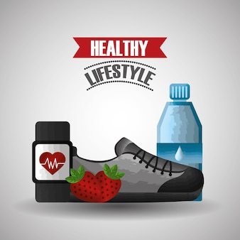 Healthy lifestyle sport fruit and sneaker smart watch