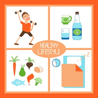 Healthy lifestyle vector illustration with a man lifting weights for fitness  pure water or organic beverages  healthy diet and food and sufficient sleep