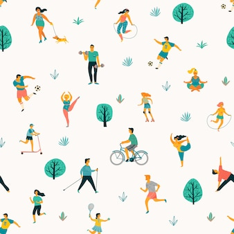 Healthy lifestyle vector seamless pattern.