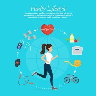 健康的なライフスタイルのベクトルセットとフィットネスのさまざまなスポーツ