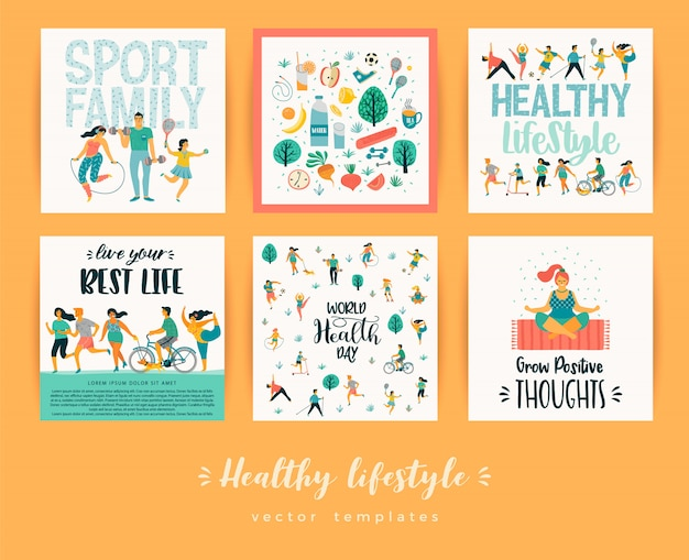 Healthy lifestyle vector templates.