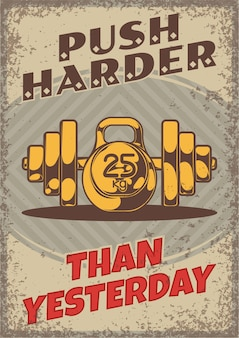 Healthy lifestyle vintage poster with editable text