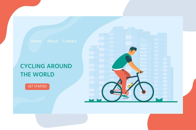 Healthy lifestyle with character riding bicycle. landing page design for cycling. modern vector illustration concept for websites. user interface ux, ui screen template for mobile smart phone.