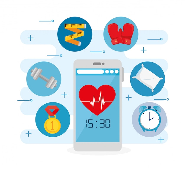 スマートフォンとアイコンのセットベクトルイラストデザインと健康的なライフスタイル