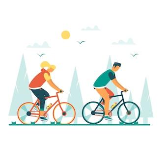 젊은 남자와 여자는 자전거를 타고 건강 한 라이프 스타일. 디자인 자전거와 현대 벡터 일러스트 레이 션 개념