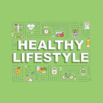 Healthy lifestyle word concepts banner. conscious nutrition and sport exercises. infographics with linear icons on green background. isolated typography. vector outline rgb color illustration