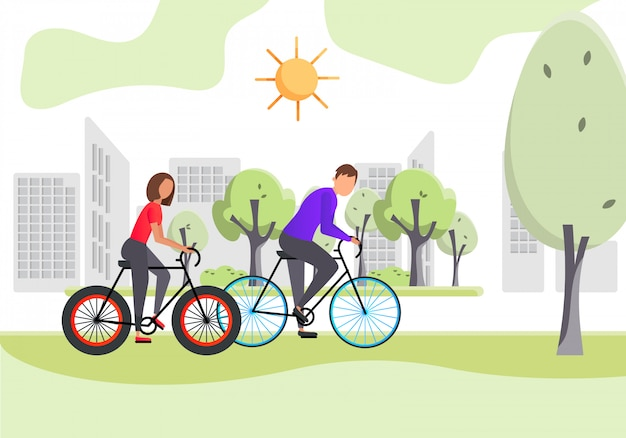 Healthy lifestyle. young woman and man ride a bike on the street in summer. color vector illustration