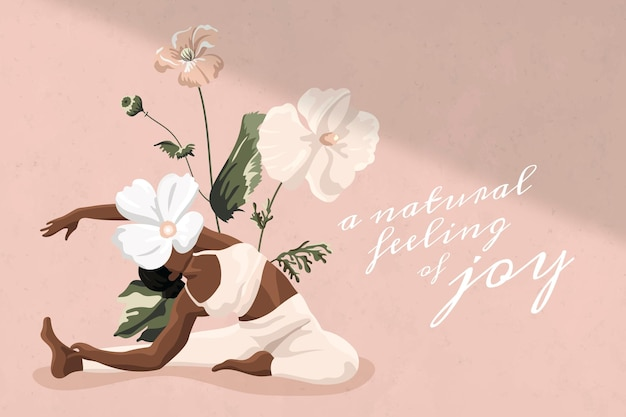 Vita sana citazione modello vettoriale allenamento donne rosa floreale minimo banner