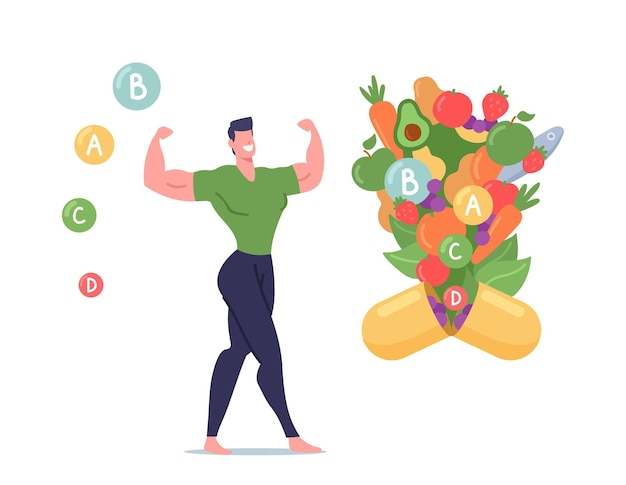 Healthy male character presenting strong beautiful body shape demonstrate muscles near huge capsule with healthy fruits and vegetables flying out