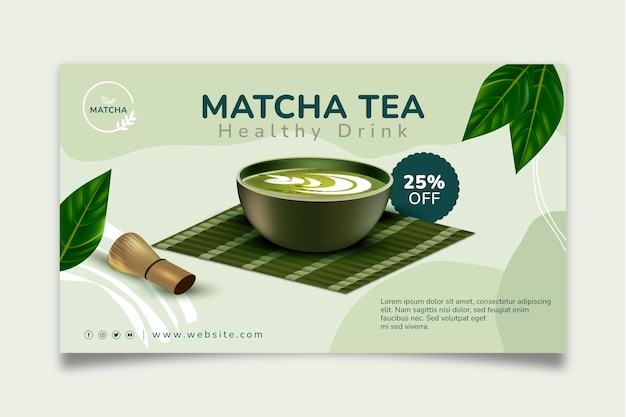 Modello di banner di tè matcha sano