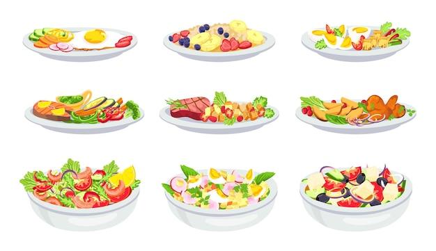 Здоровая еда. меню завтраков, обедов, салатов и ужинов. овсянка с фруктами. сбалансированная диета с овощами, яйцами, мясом и морепродуктами, набор векторных. иллюстрация обед, ужин, завтрак с овощами