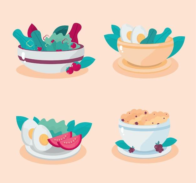 Healthy meals cereal salad egg tomato lettuce  illustration
