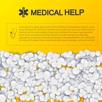 Modello sano di aiuto medico con le pillole e posto per il vostro testo su giallo