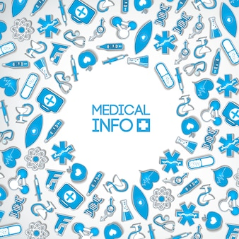 Healthy medicine design concept with inscription and medical blue paper icons and elements on light