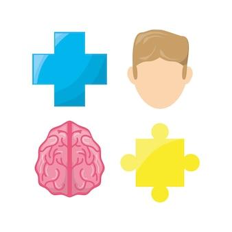 Healthy mental of brain symbols