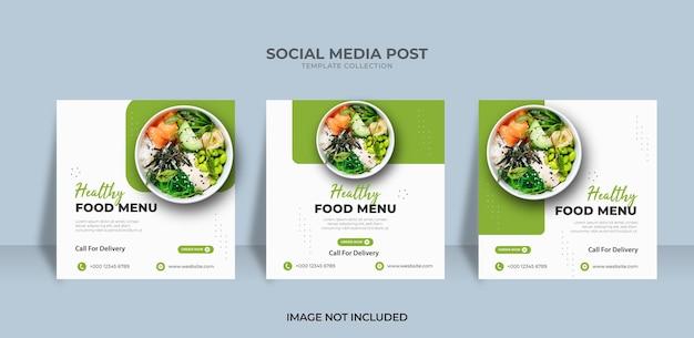 Healthy menu food instagram post banner template