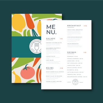 Healthy menu template for restaurant.