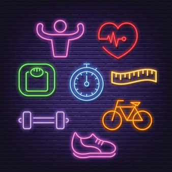 Healthy neon icons