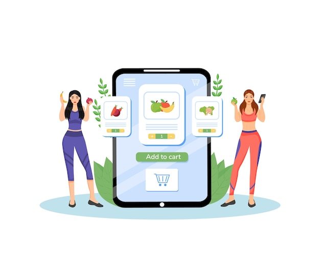 Healthy nutrition plan flat concept illustration. female nutritionists, dieticians 2d cartoon characters for web design. fresh fruits and vegetables delivery service creative idea