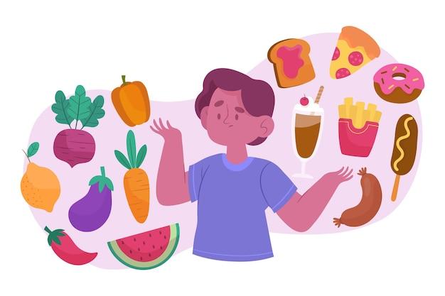건강하거나 건강에 해로운 음식