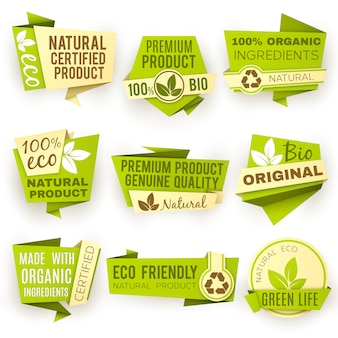 Healthy organic farm fresh product vector labels. green vegan food badges and labels. green bio sticker emblem for eco food illustration