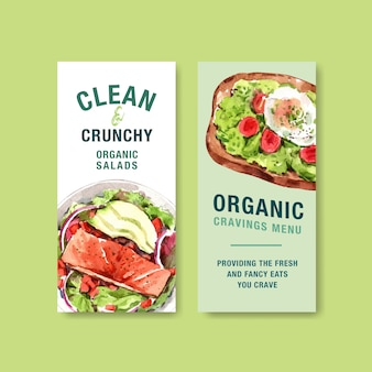 Healthy and organic food flyer template design for voucher, advertisement watercolor